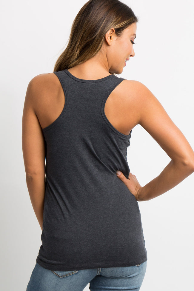 Charcoal Grey Fitted Maternity Tank Top