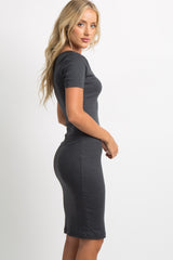 Charcoal Grey Solid Ribbed Fitted Dress