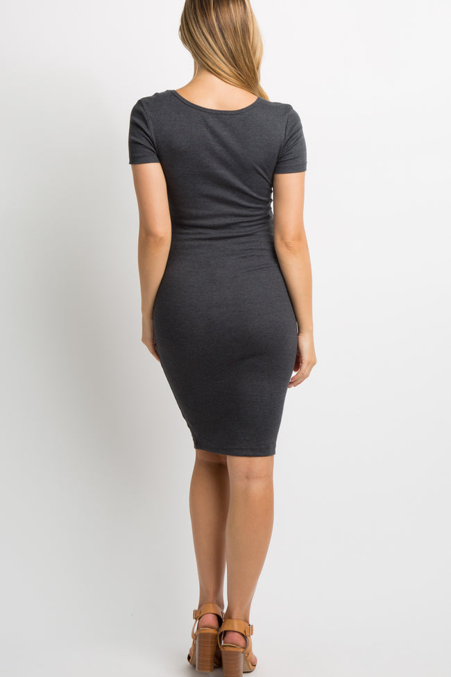 Charcoal Grey Solid Ribbed Fitted Maternity Dress