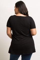 Black Caged Front Short Sleeve Plus Maternity Top