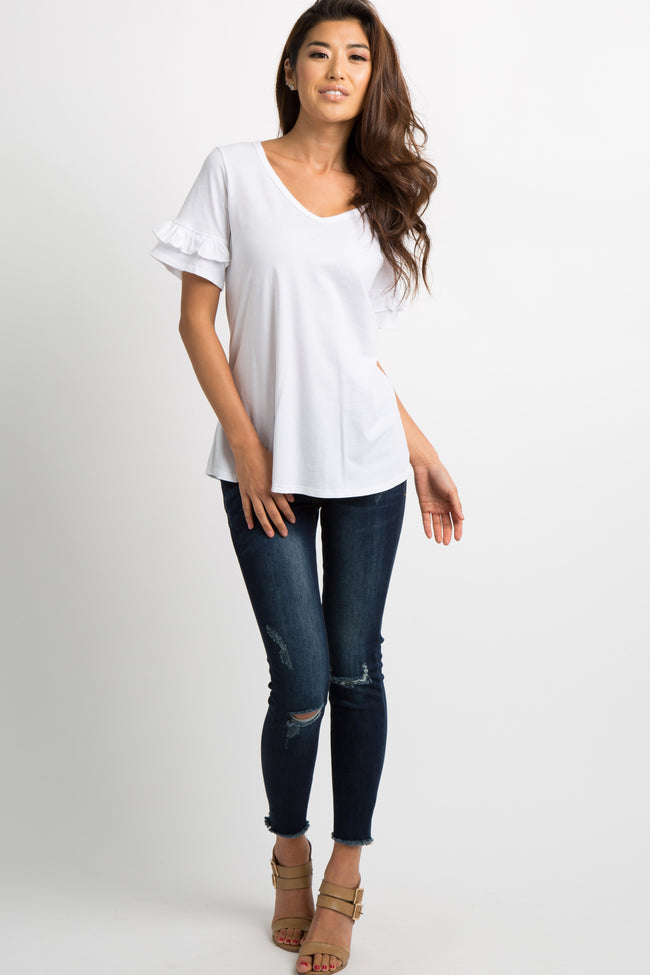 White V-Neck Ruffle Sleeve Top