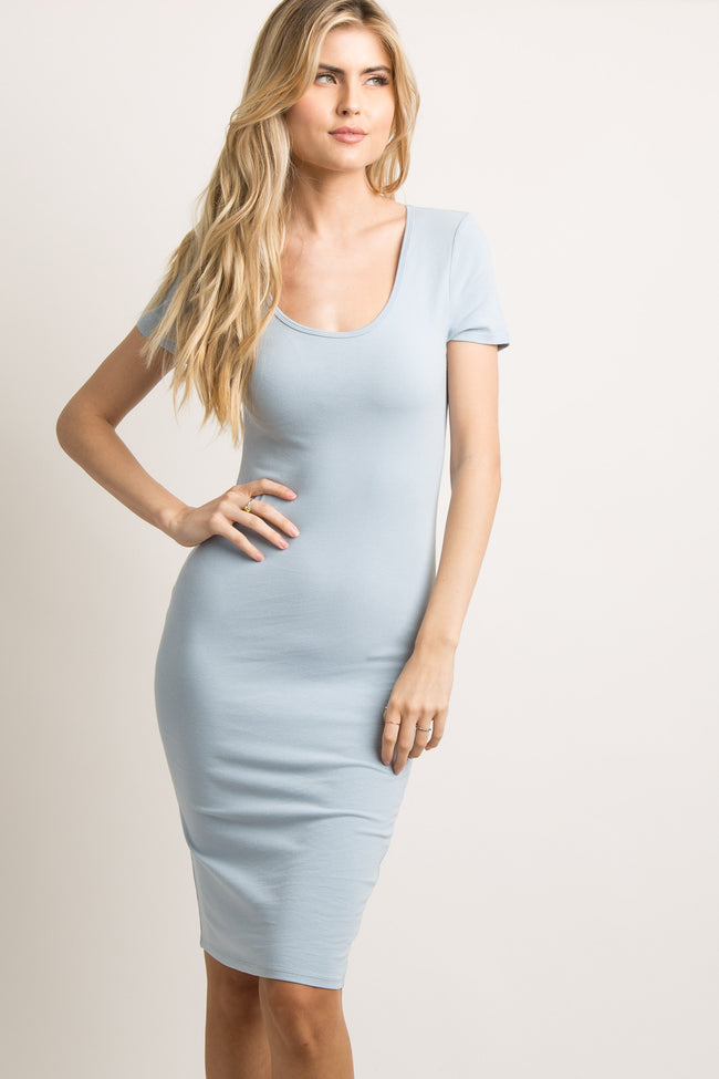 Light Blue Fitted Dress