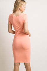 Coral Fitted Midi Dress