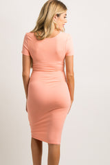Coral Fitted Maternity Midi Dress