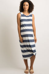 Navy Striped Terry Knot Hem Maternity Midi Dress