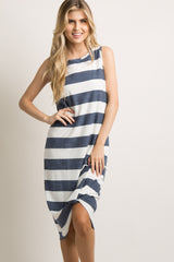 Navy Striped Terry Knot Hem Midi Dress