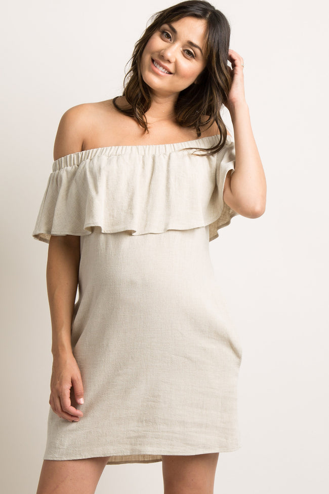 Beige Ruffle Off Shoulder Maternity Dress