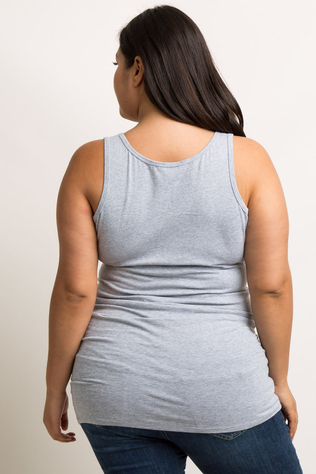 Heather Grey Basic Plus Maternity Tank Top