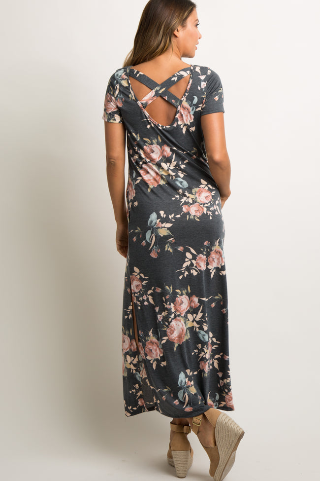 Charcoal Rose Floral Cross Back Maxi Dress