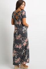 Charcoal Rose Floral Cross Back Maternity Maxi Dress