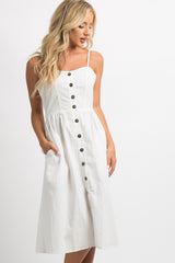 Ivory Button Front Sweetheart Midi Dress