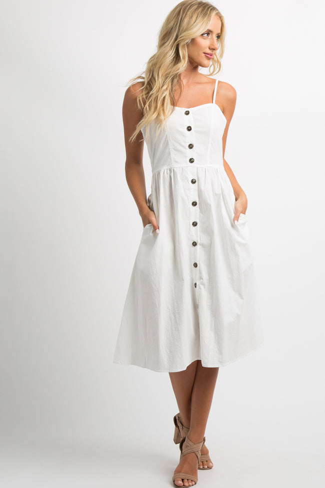 Ivory Button Front Sweetheart Maternity Midi Dress