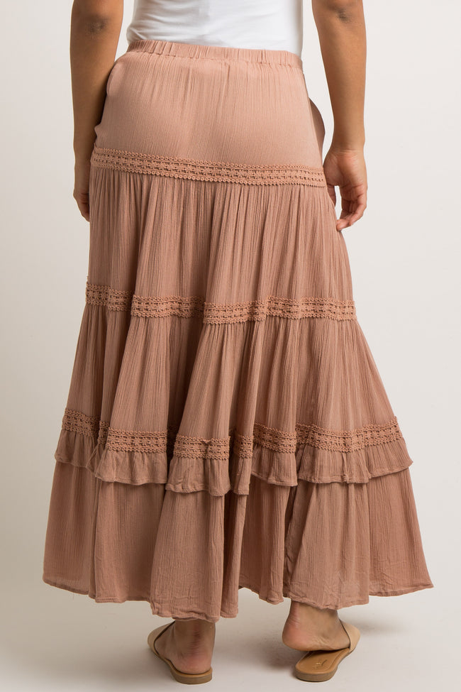Rust Crochet Accent Cinched Tie Front Maternity Skirt