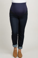Blue Dark Wash Basic Plus Maternity Jeans