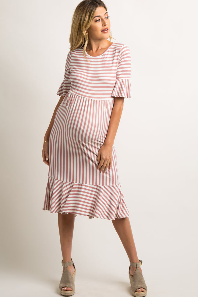 Pink Striped Flounce Trim Hi-Low Maternity Dress