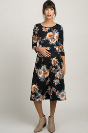 Black Floral 3/4 Sleeve Maternity Dress