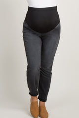 Grey Faded Plus Maternity Skinny Jeans