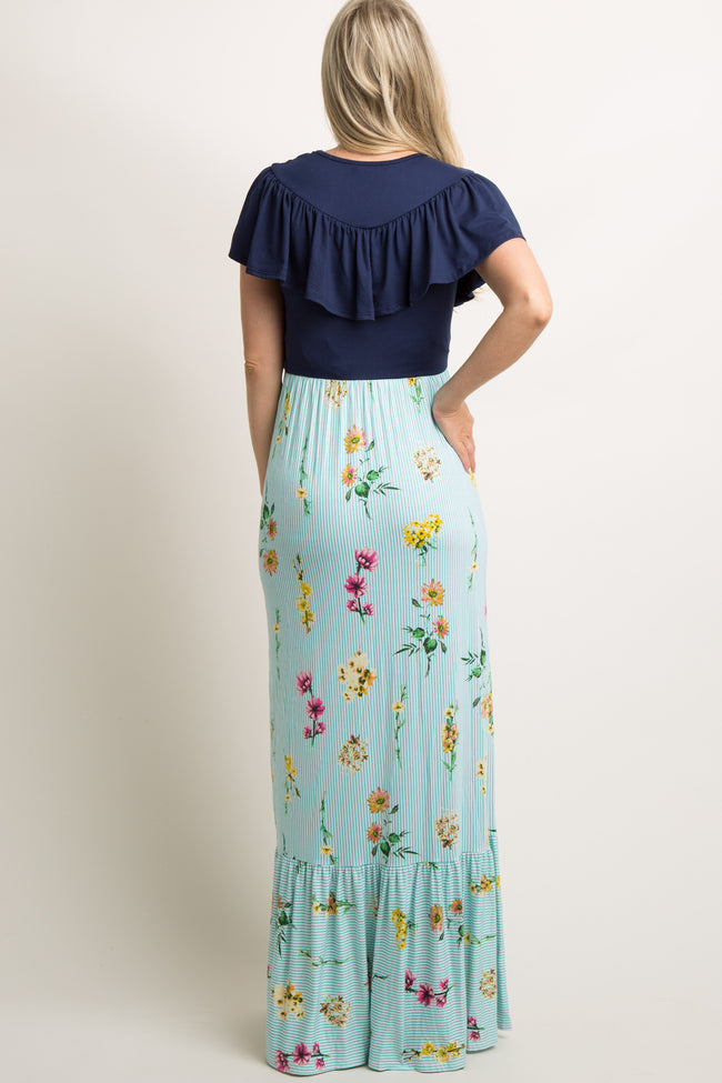 Mint Striped Floral Colorblock Ruffle Maternity Maxi Dress