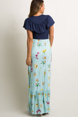 Mint Striped Floral Colorblock Ruffle Maxi Dress