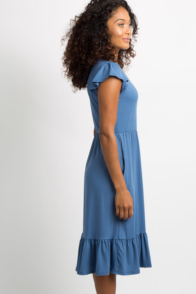 Blue Ruffle Accent Maternity Dress