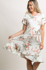 Ivory Floral Flounce Trim Maternity Dress