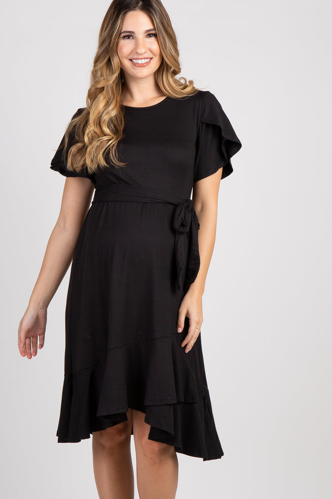 Black Solid Flounce Trim Maternity Dress