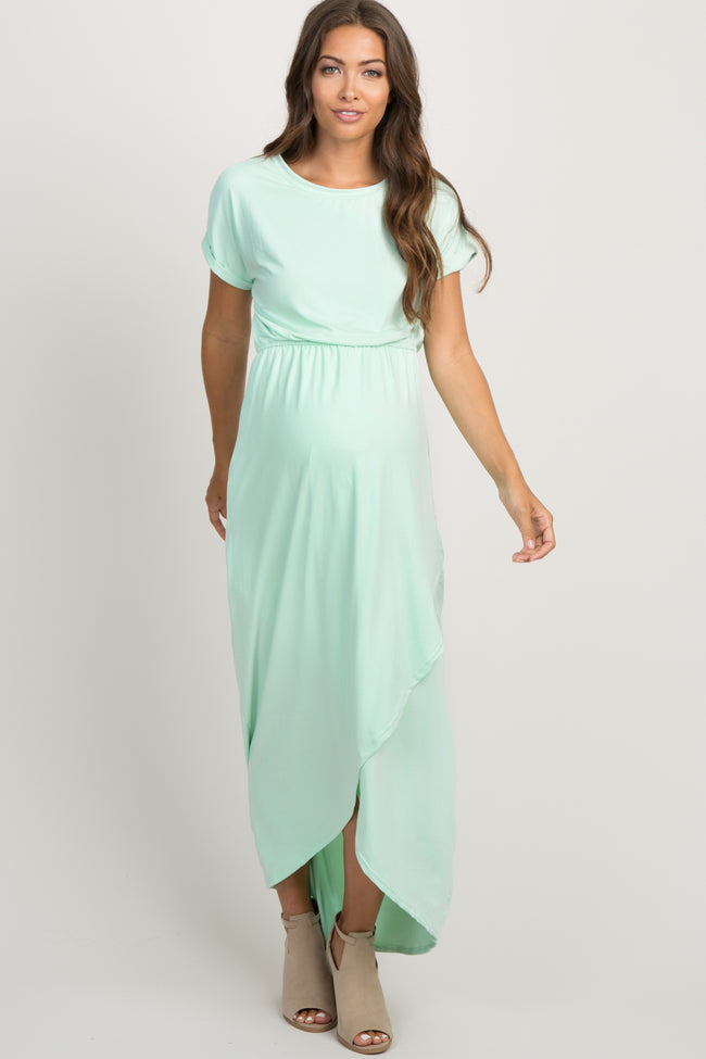 Mint Green Short Sleeve Maternity Wrap Maxi Dress