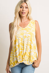 Yellow Floral Knot Maternity Tank Top