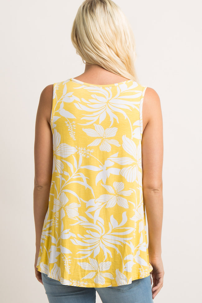 Yellow Floral Knot Tank Top