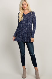 Navy Blue Heathered V-Neck Top