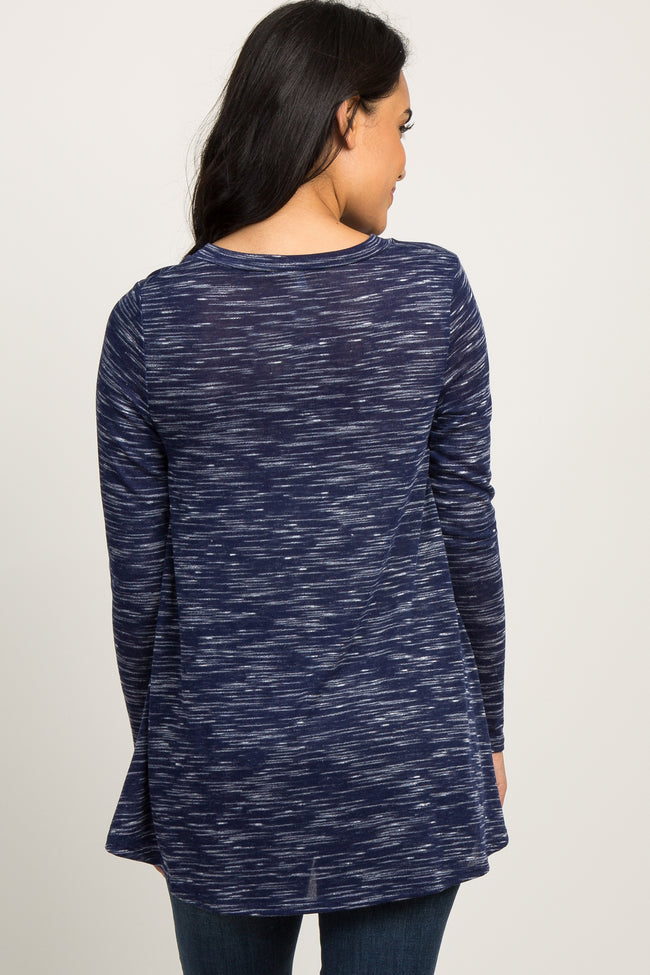 Navy Blue Heathered V-Neck Maternity Top