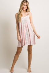 Light Pink Striped Sleeveless Sleep Dress