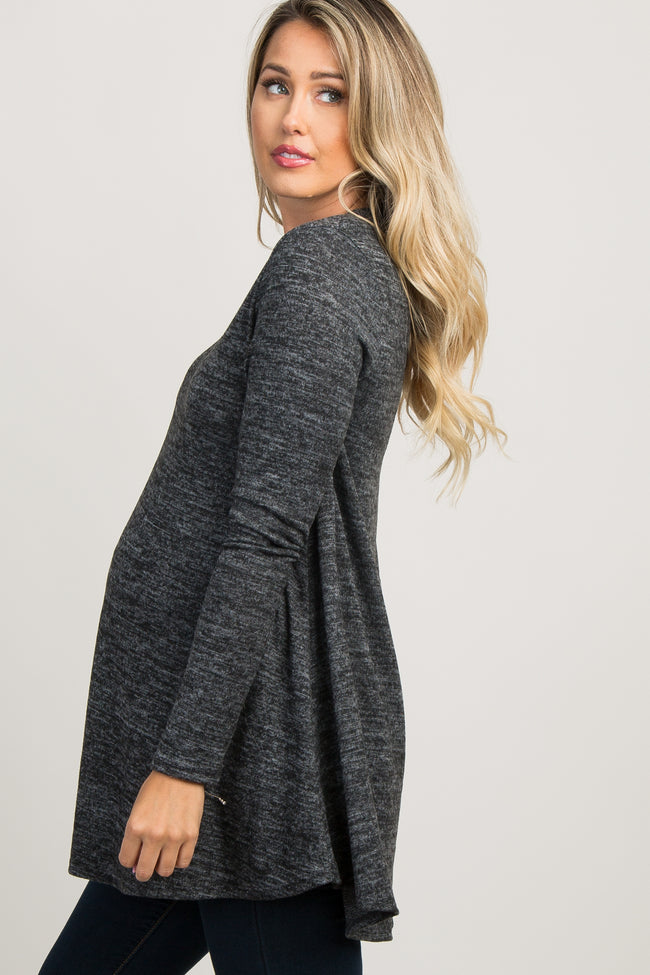 Heather Charcoal Long Sleeve Knit Maternity Top
