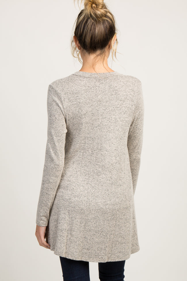 Heather Mocha Long Sleeve Knit Maternity Top