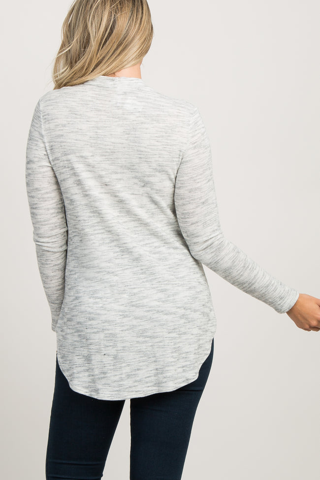 Ivory Heathered Soft Knit High Neck Maternity Top