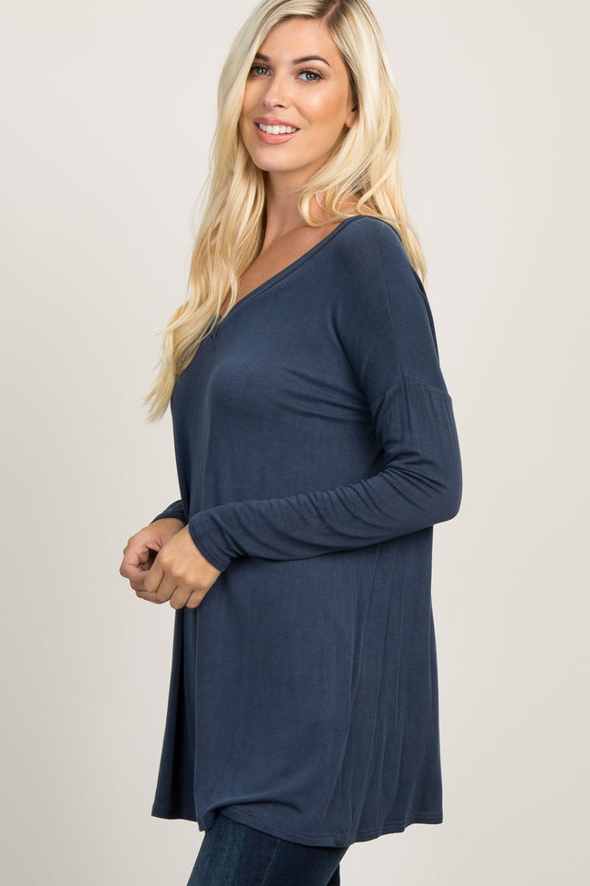 Navy Blue Long Sleeved Maternity Tunic Top