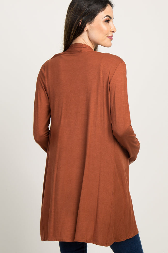 Rust Solid Long Sleeve Maternity Cardigan