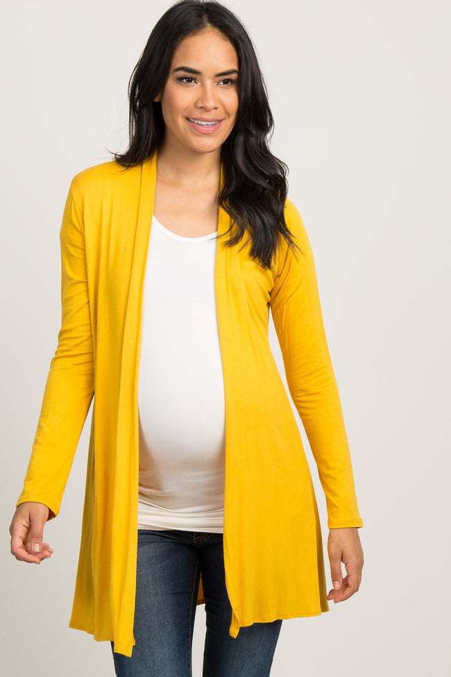 Yellow Solid Long Sleeve Maternity Cardigan