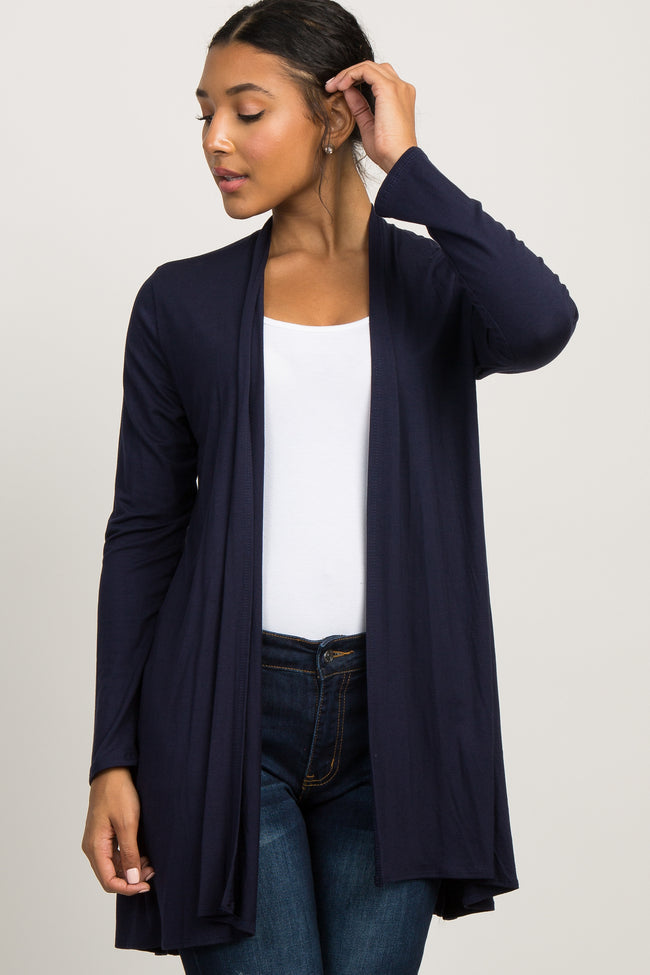 Navy Blue Solid Long Sleeve Cardigan