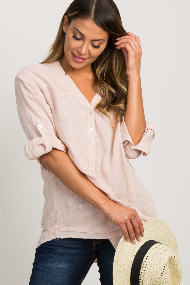 Pink Textured Button Front Maternity Blouse