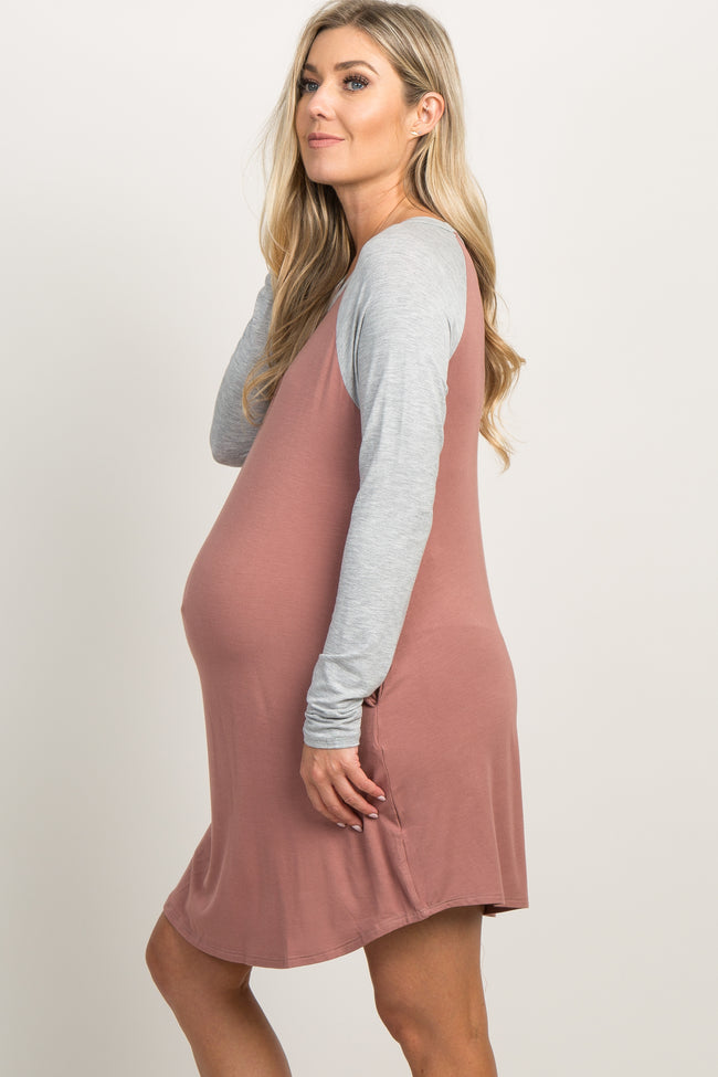 Mauve Raglan Pocket Bamboo Maternity Sleep Dress