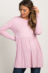 Light Pink Solid Long Sleeve Peplum Maternity Top