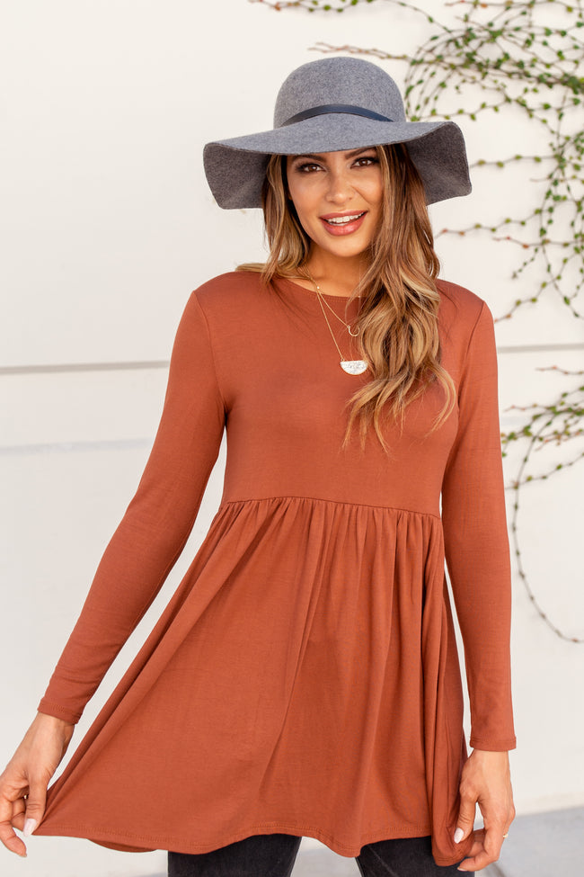 Rust Solid Long Sleeve Peplum Top