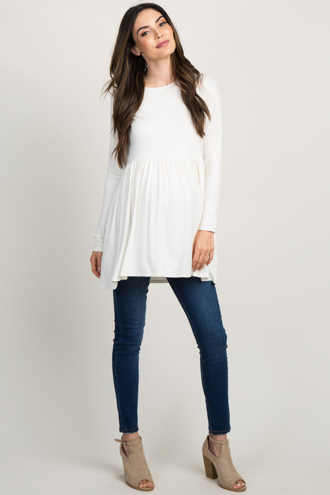 Ivory Solid Long Sleeve Peplum Maternity Top