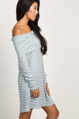 Teal Rib Striped Off the Shoulder Dress