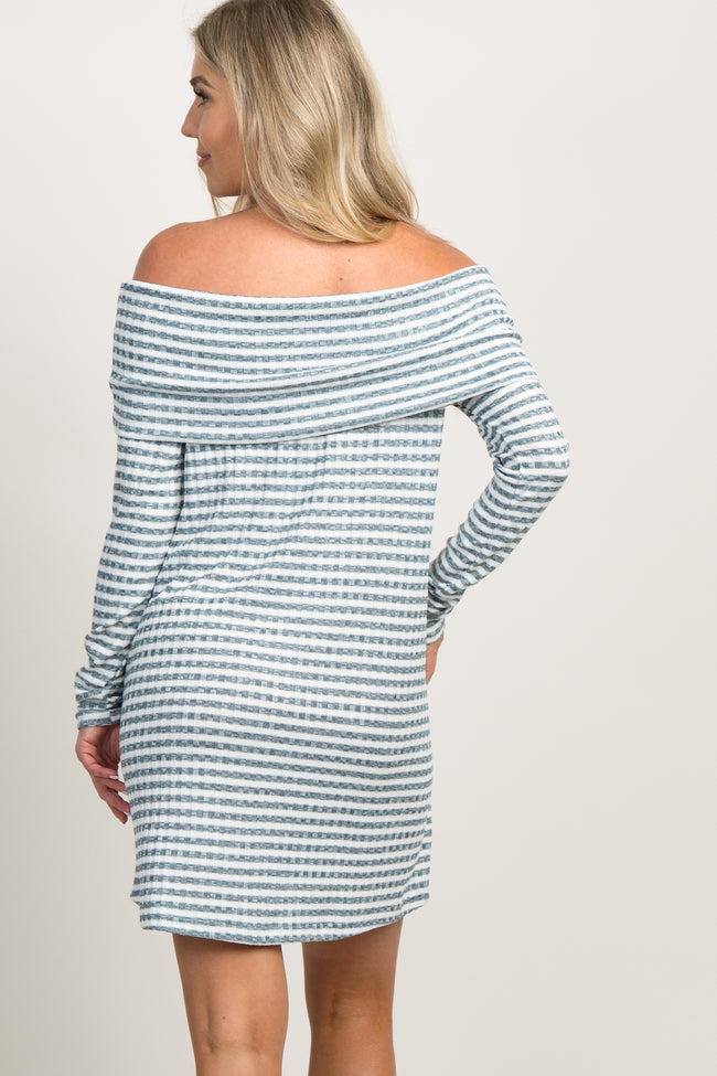 Teal Rib Striped Off the Shoulder Maternity Dress