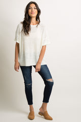 Ivory Open Knit Dolman Sleeve Top