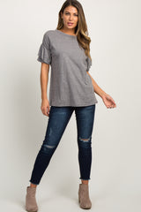 Dark Grey Short Ruffle Sleeve Top