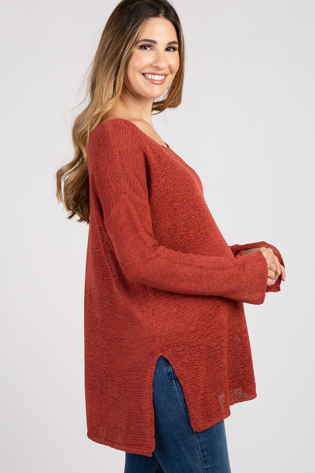 Rust Side Slit Maternity Top