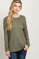 Olive Green Waffle Knit Long Sleeve Maternity Top